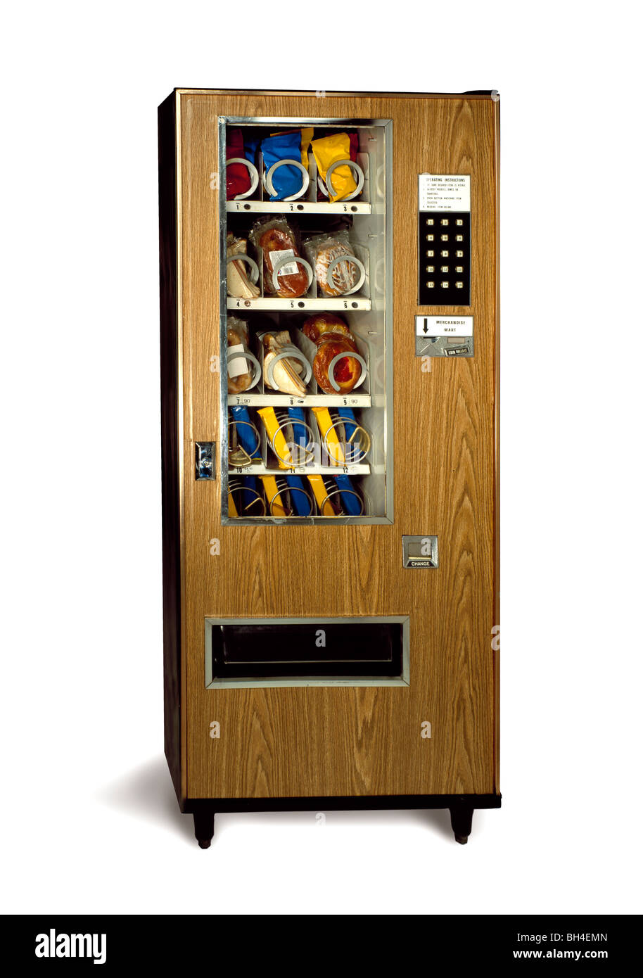 Old vending machine on a white background - Stock Image