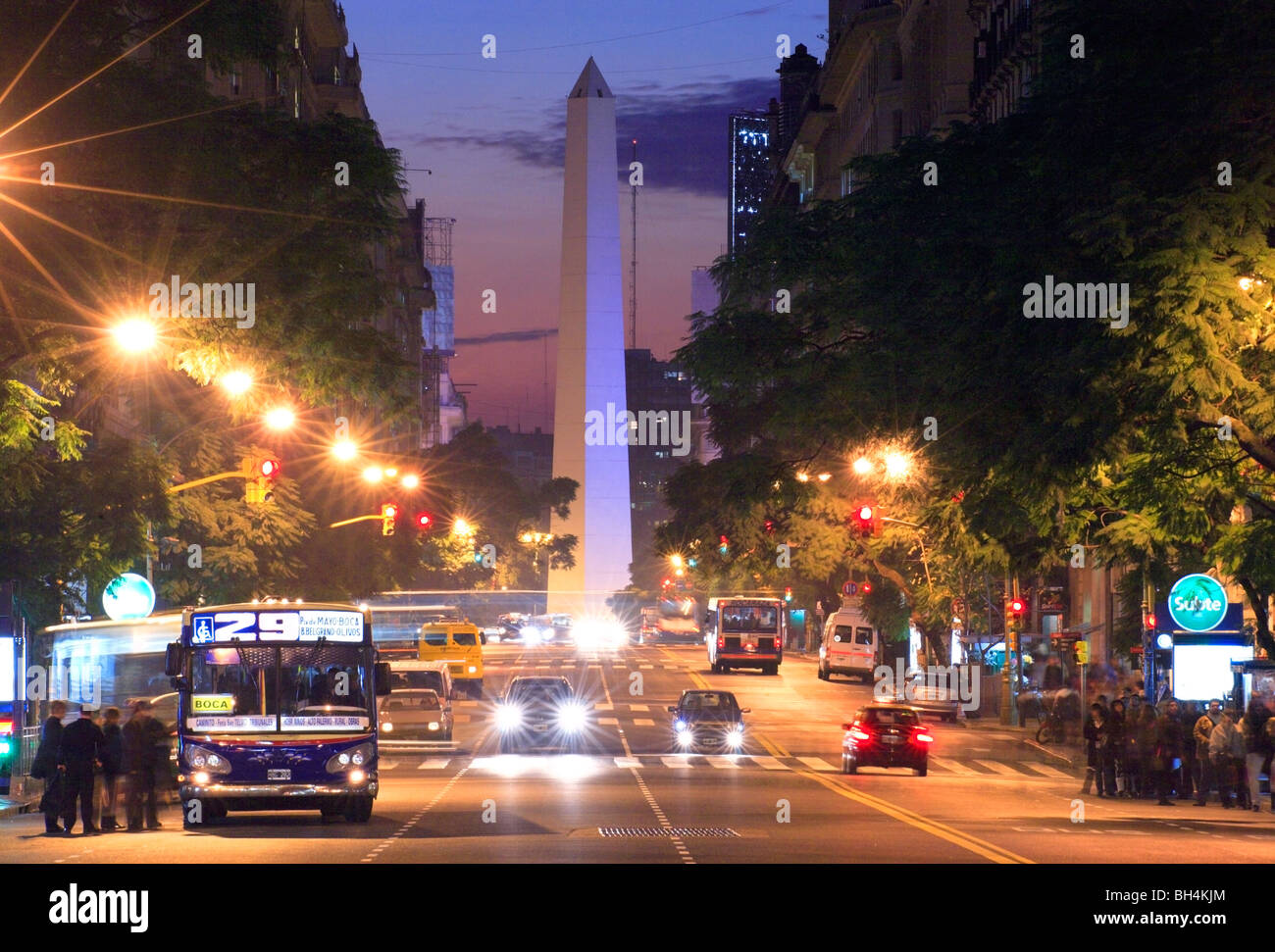 Roque Saenz Peña Ave., at dusk. Obelisk monument at background. Buenos Aires, Argentina. - Stock Image