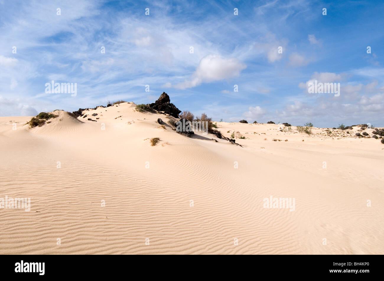 sand dune dunes desert wind blown deserts sandy blue sky skies - Stock Image