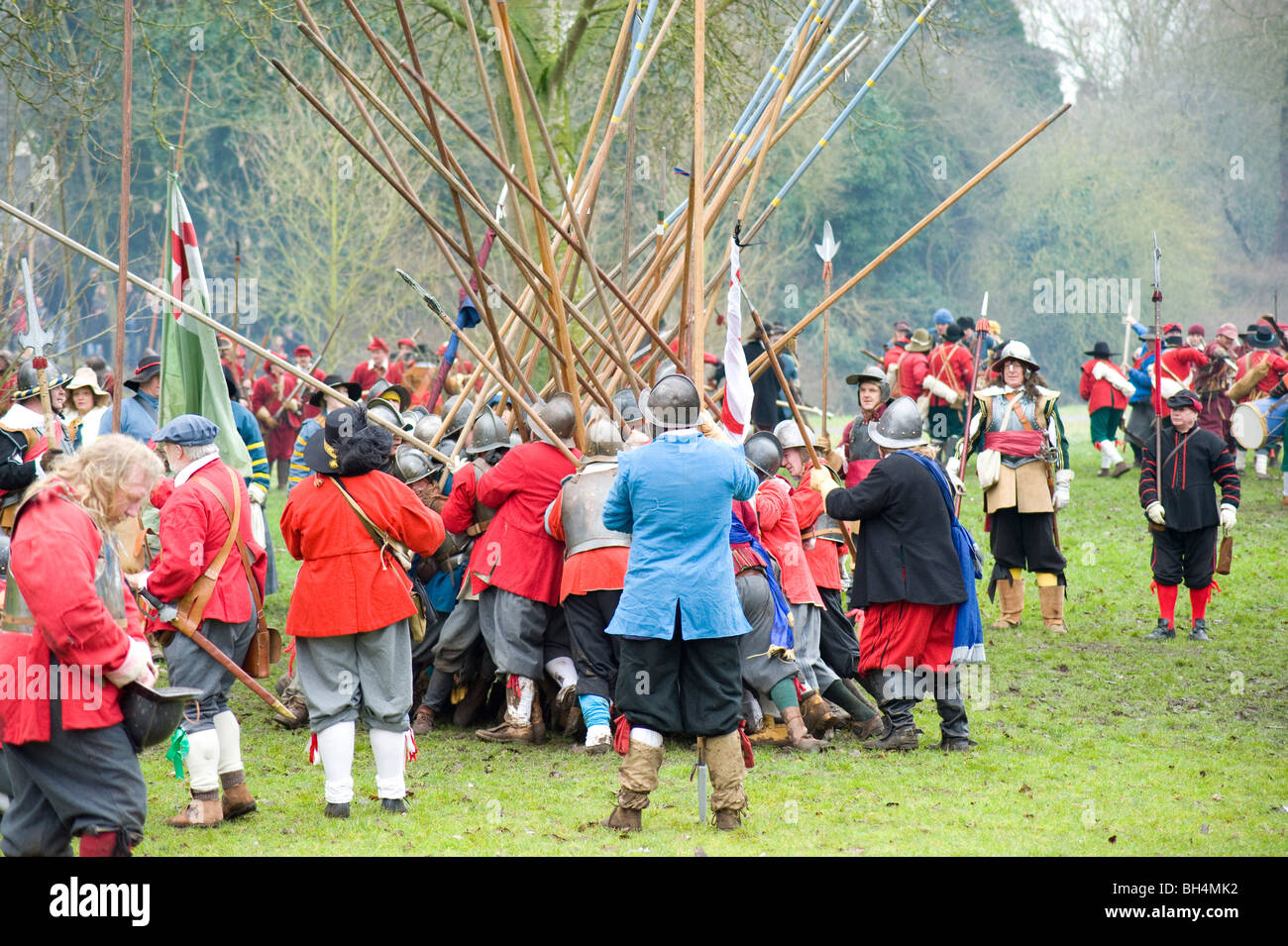 Members of the sealed knot re enacting the battle of Nantwich - Stock Image