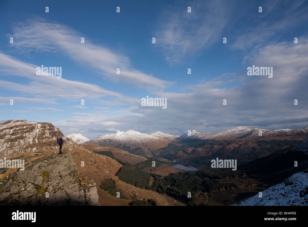 The Arrochar Alps with Loch Goil in the distance from Beinn Bhula Stock Photo