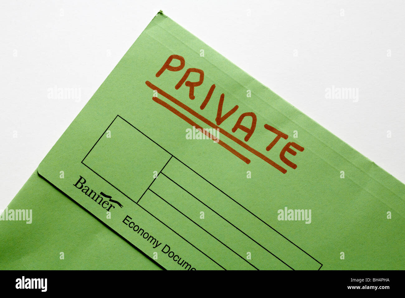 green folder document wallet marked private - Stock Image