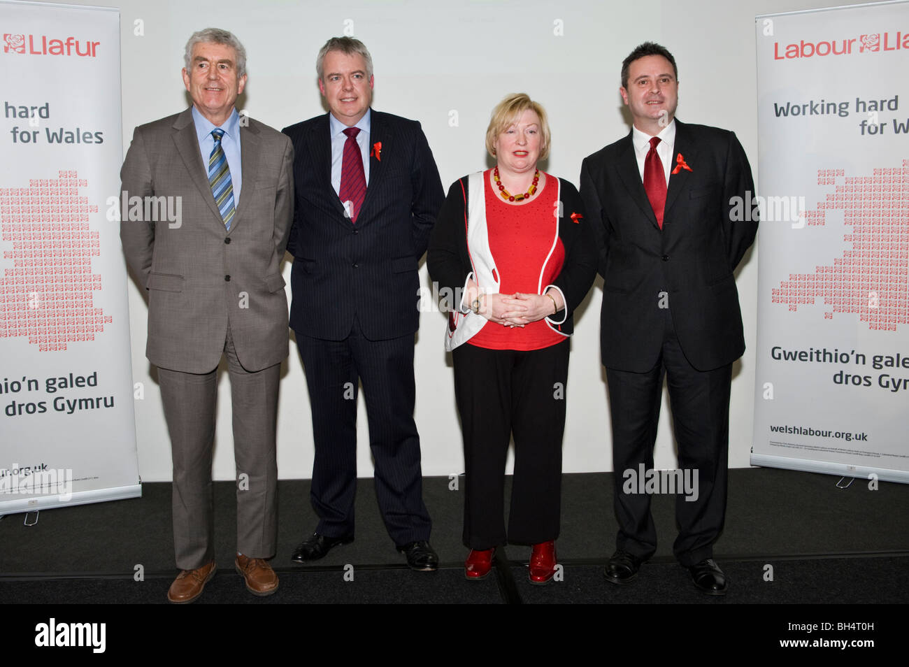 Welsh Labour Party Assembly Members l-r Rhodri Morgan, Carwyn Jones, Edwina Hart and Huw Lewis at a Welsh Labour - Stock Image
