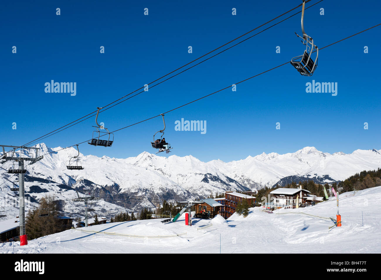 The Charmettoger chair lift near to the resort centre, Arc 1800, Les Arcs,,Tarentaise, Savoie, France - Stock Image