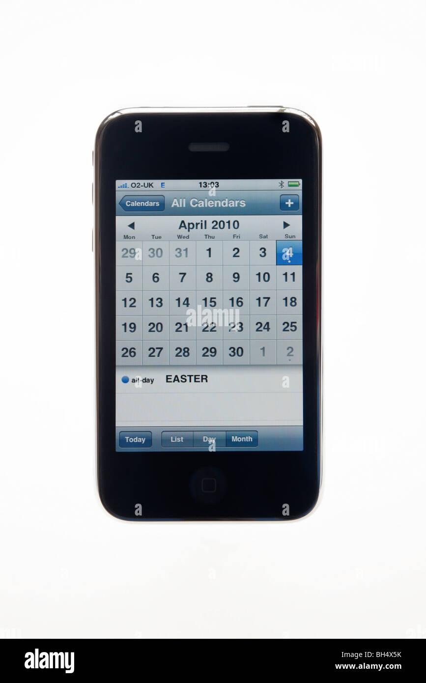 UK Europe. iPhone 3G showing April 2010 calendar application - Stock Image