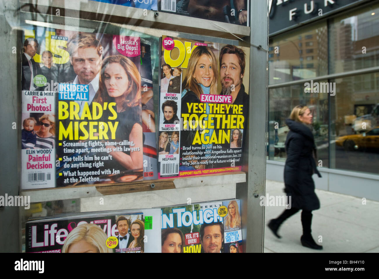 Celebrity magazines at a newsstand in New York - Stock Image