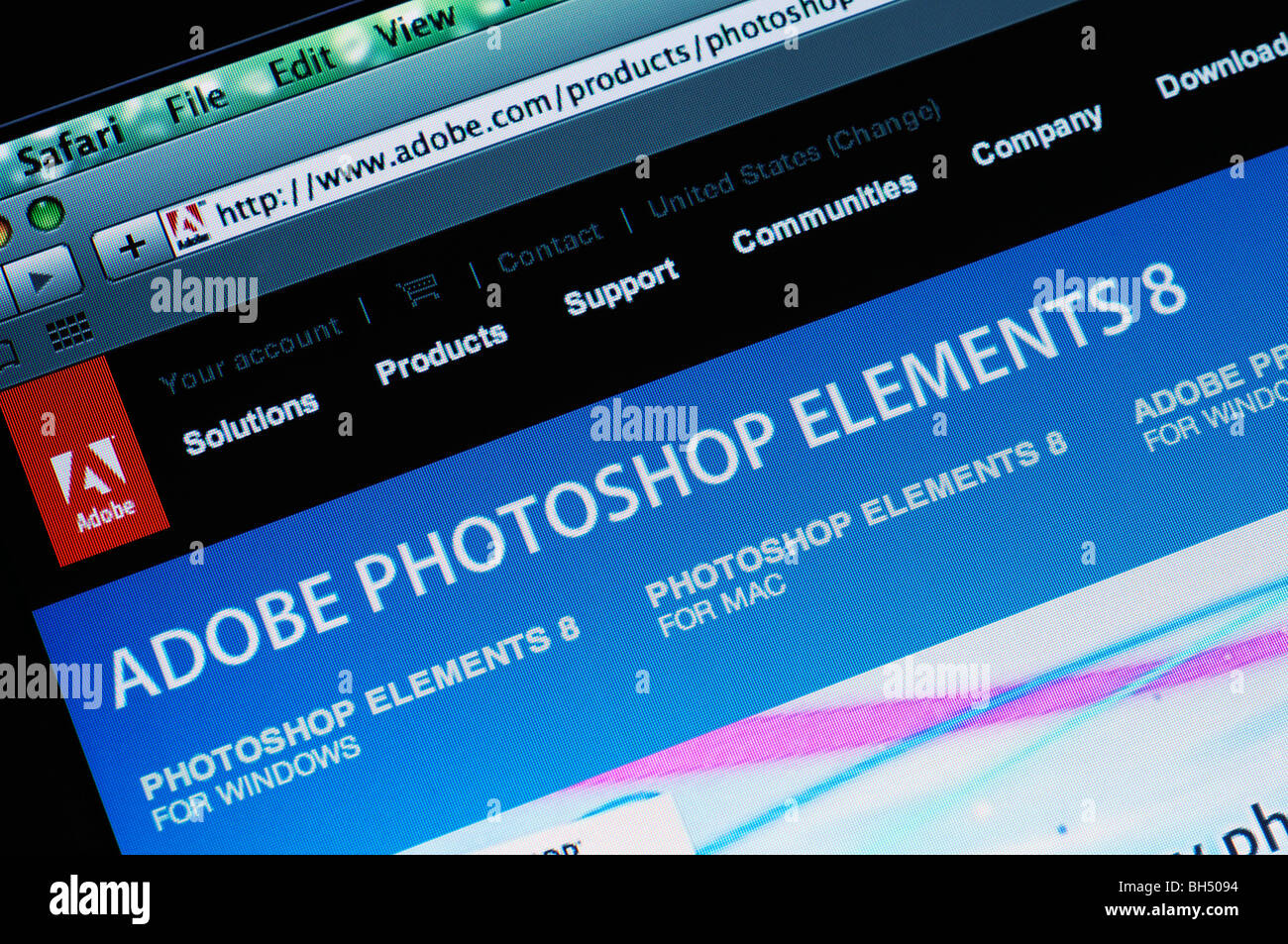 Adobe Photoshop Elements website - Stock Image