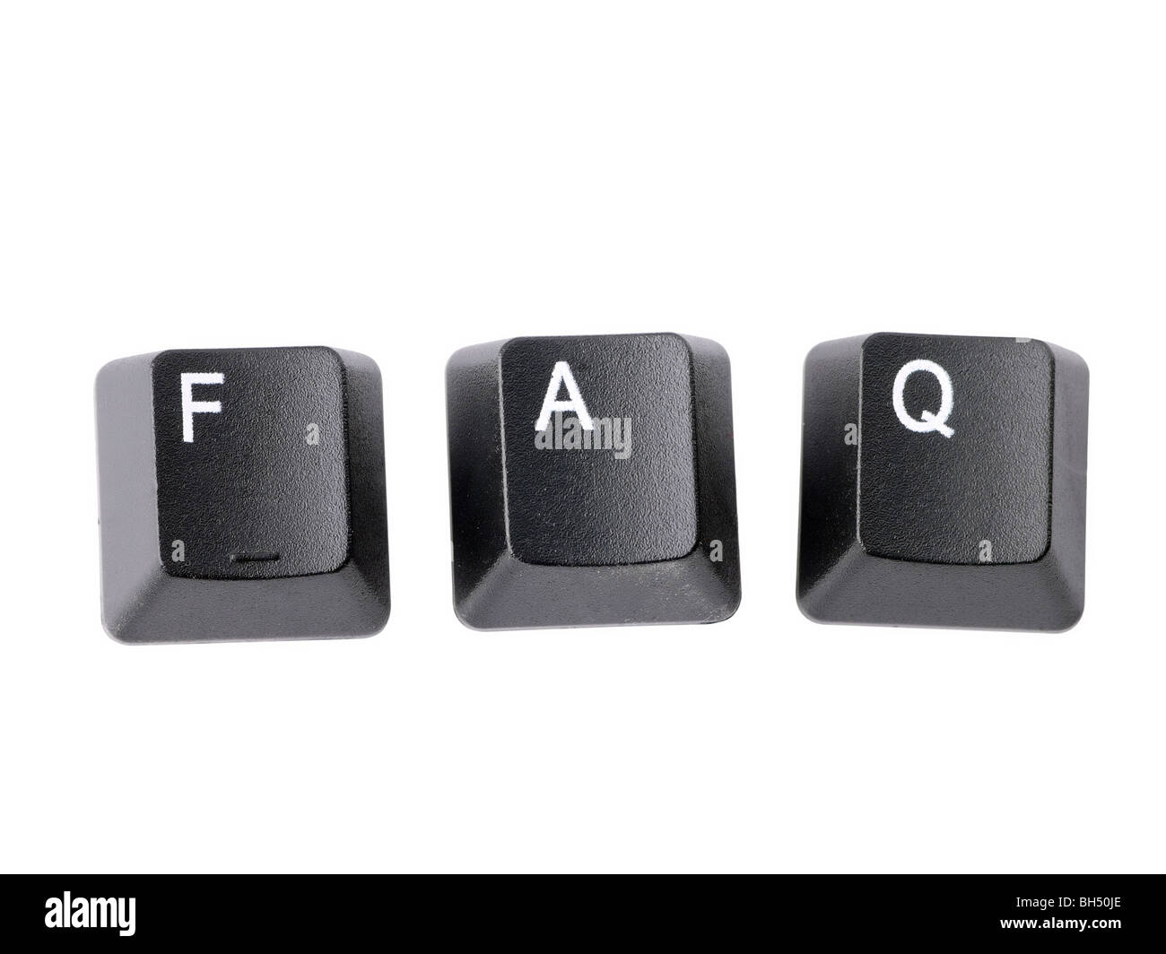 Black keyboard keys forming FAQ acronym over white background - Stock Image