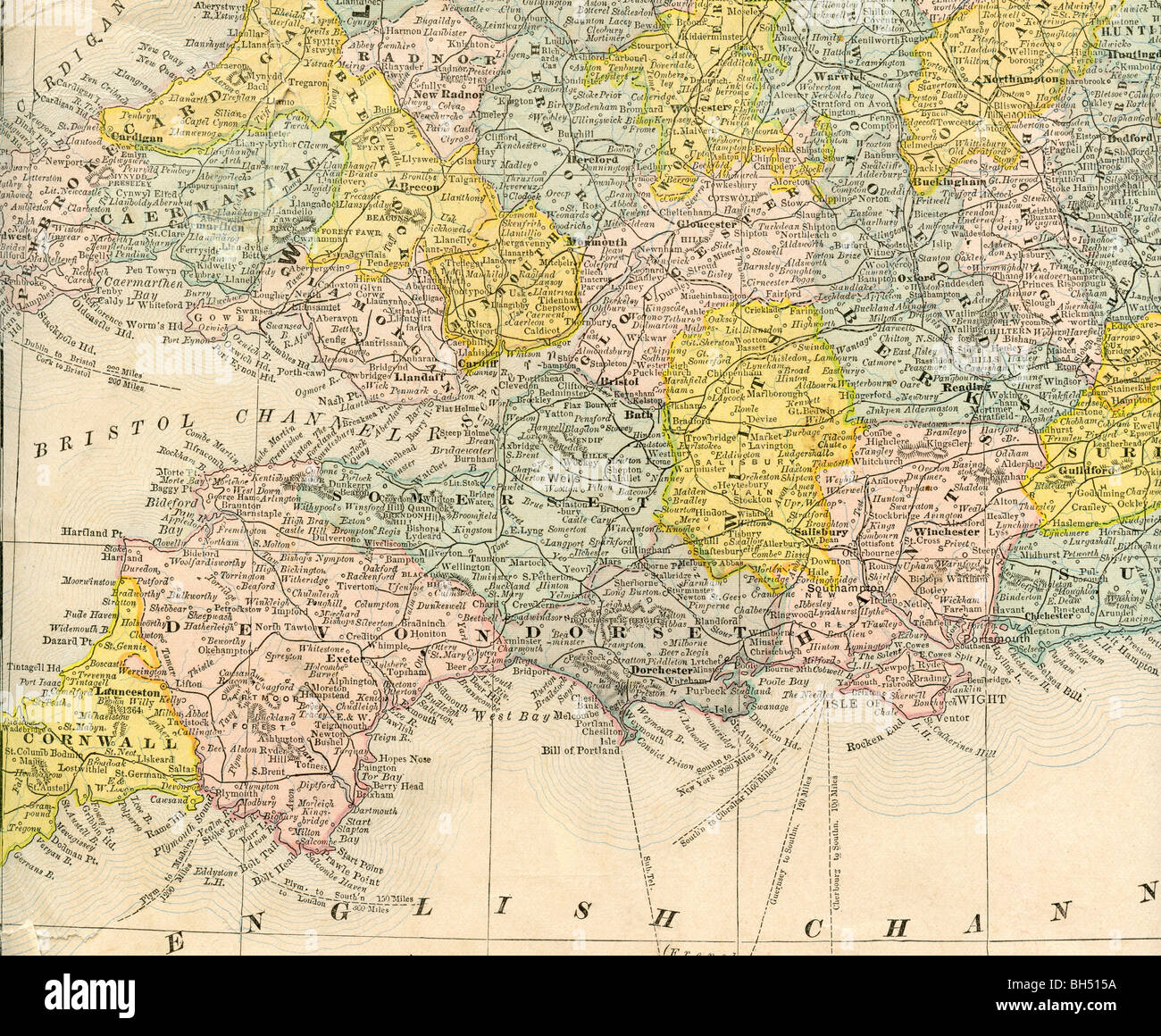 Geography Map Of England.Old Map Of Southwest England From Original Geography Textbook 1884
