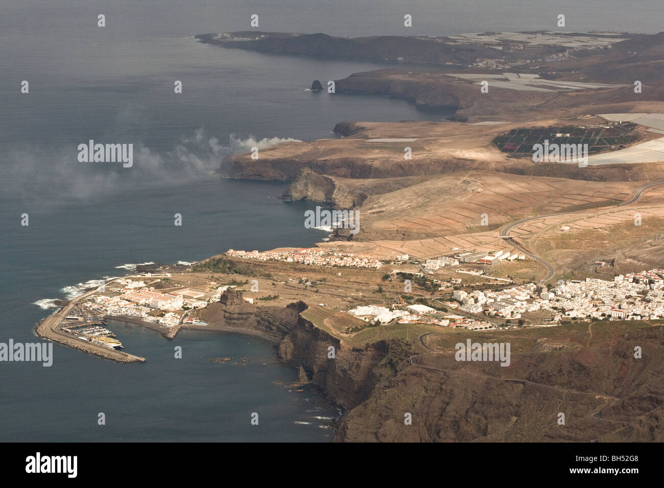 View towards Agaete harbour from Roque Faneque. Stock Photo