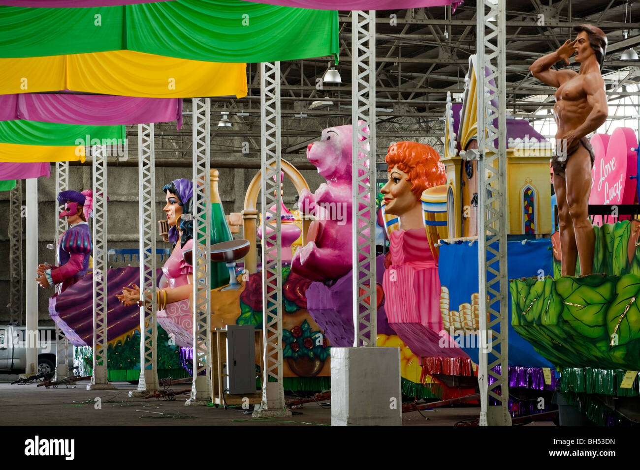 Floats at Mardi Gras World, New Orleans, Louisiana - Stock Image