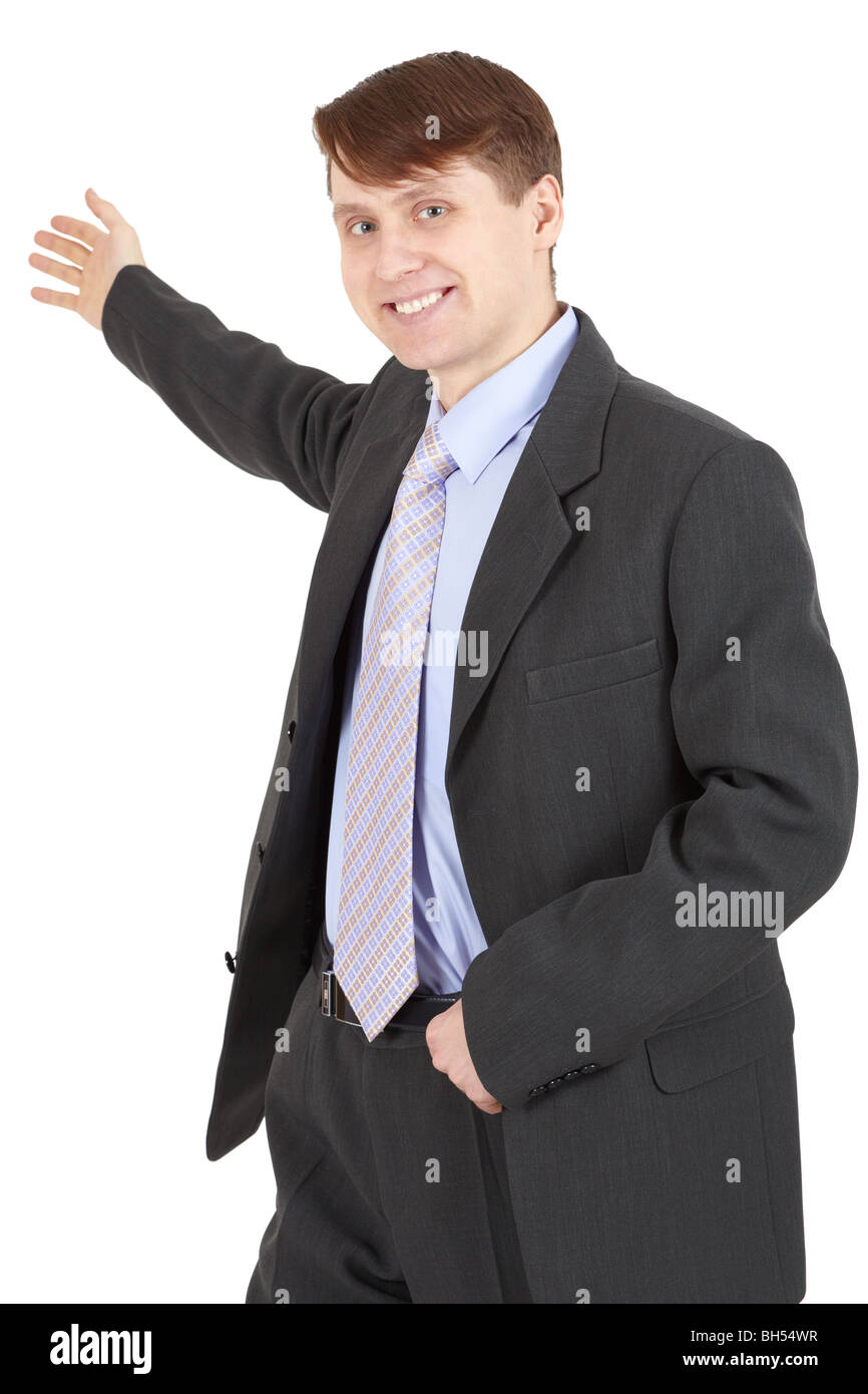 Hospitable businessman in a business suit isolated on white background Stock Photo