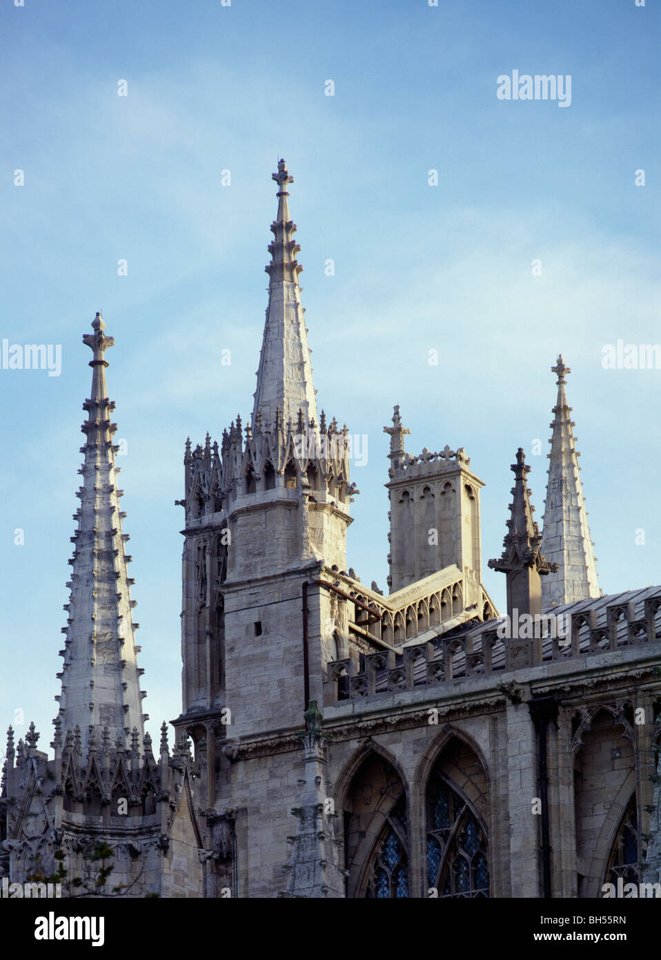York Minster elaborate gable end pinnacles of east end. Late14-15th century - Stock Image