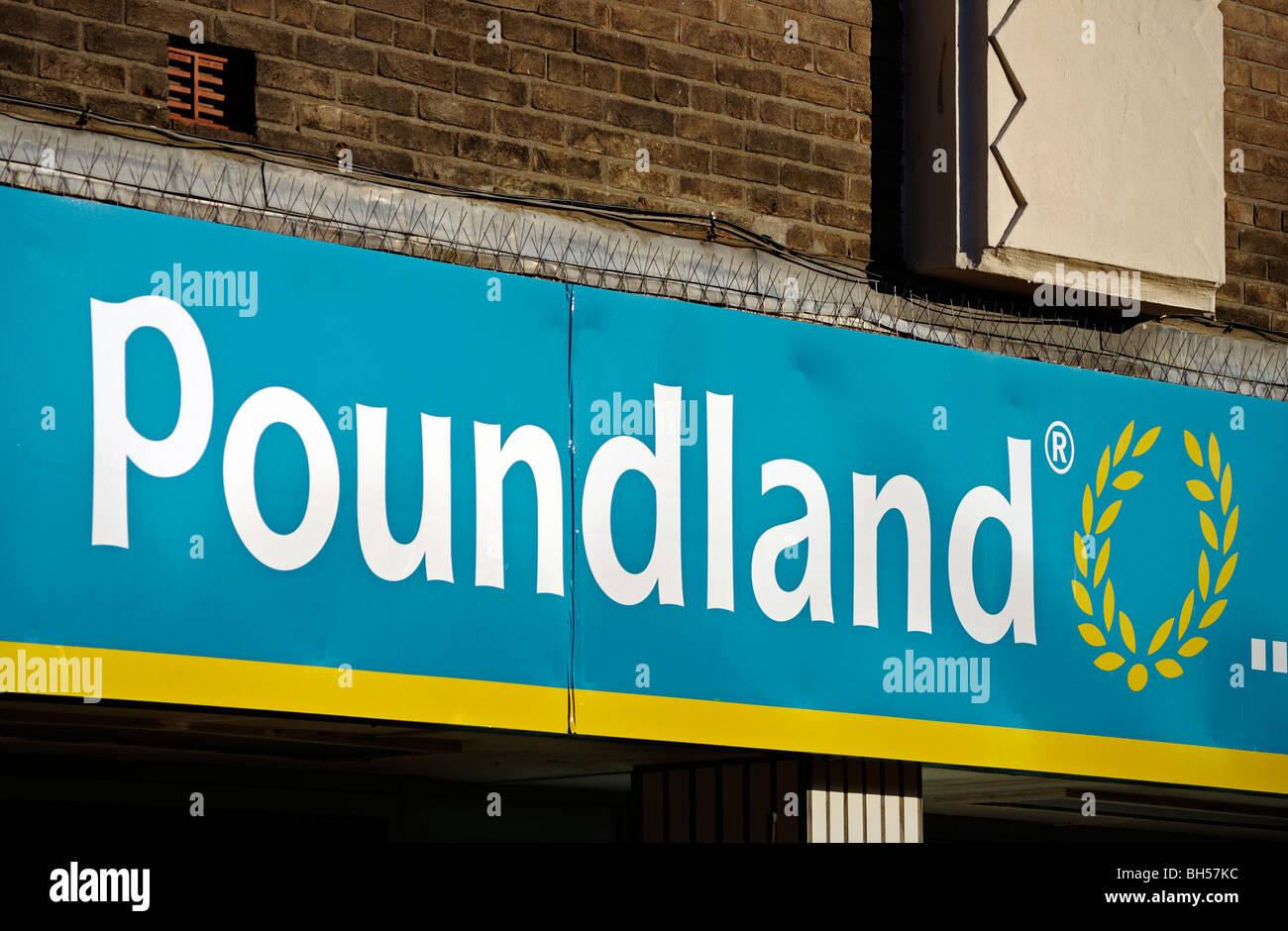 poundland discount store sign, uk - Stock Image