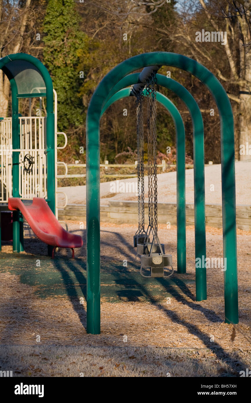 Abandoned Playground with frost - Stock Image