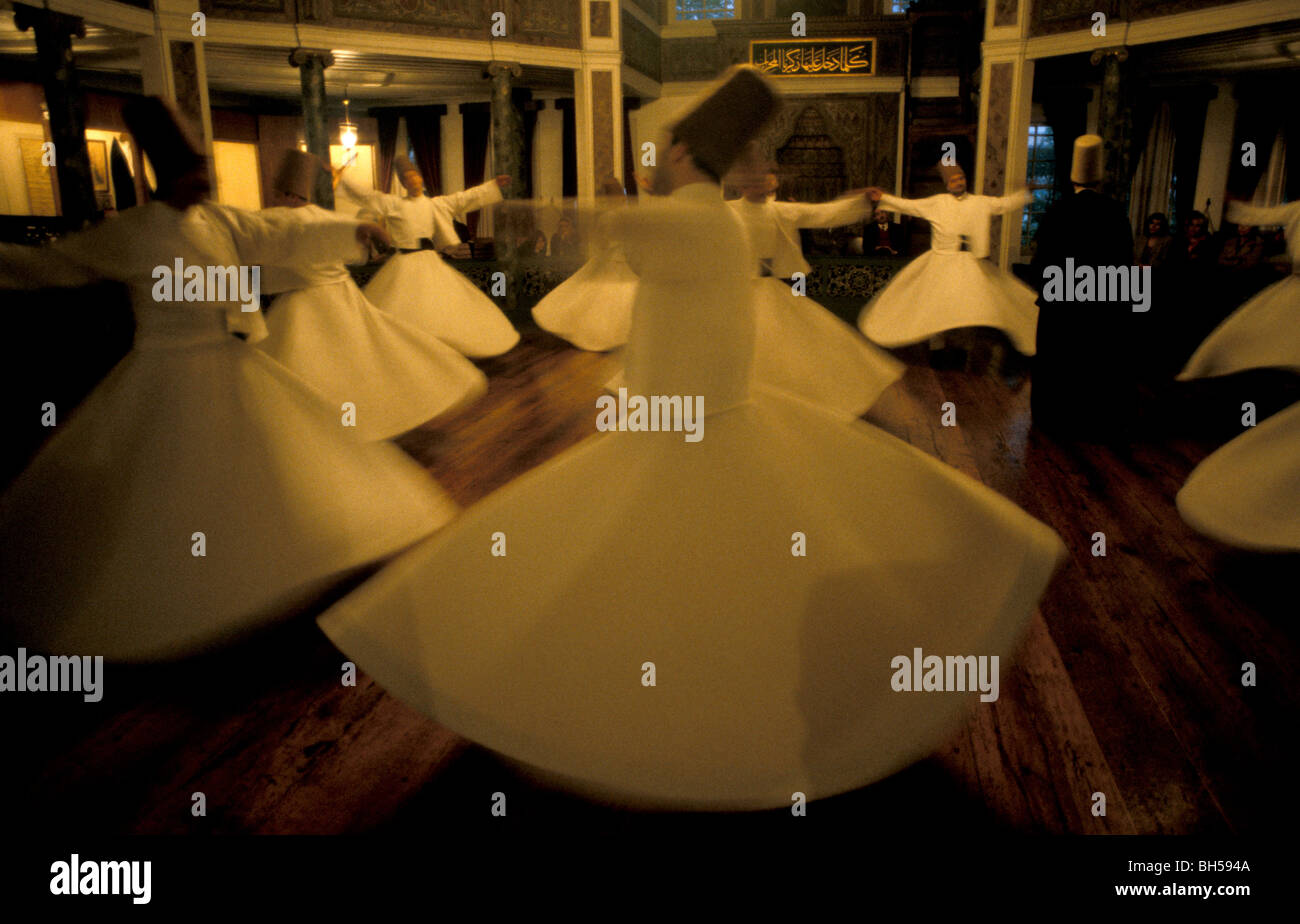 Turkey, Istanbul. The Whirling Dervishes, Sema performance at the Galata Mevlevihanesi Stock Photo
