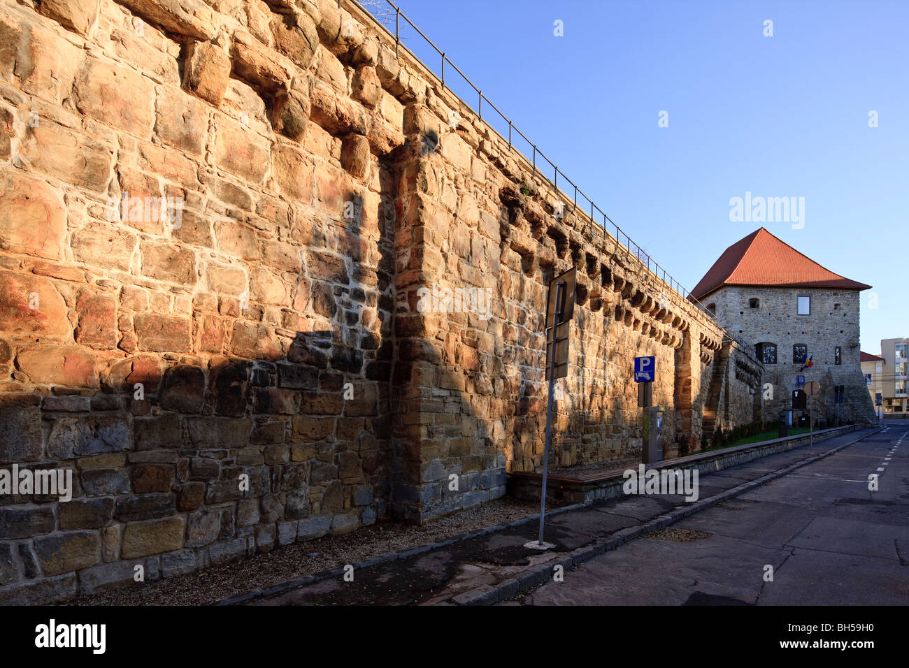 Medieval city wall and the Tailors' Bastion in Cluj-Napoca Romania - Stock Image