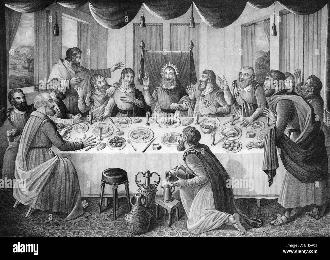 Print circa 1835 showing the Last Supper of Jesus Christ and his disciples as depicted in the Gospels. - Stock Image