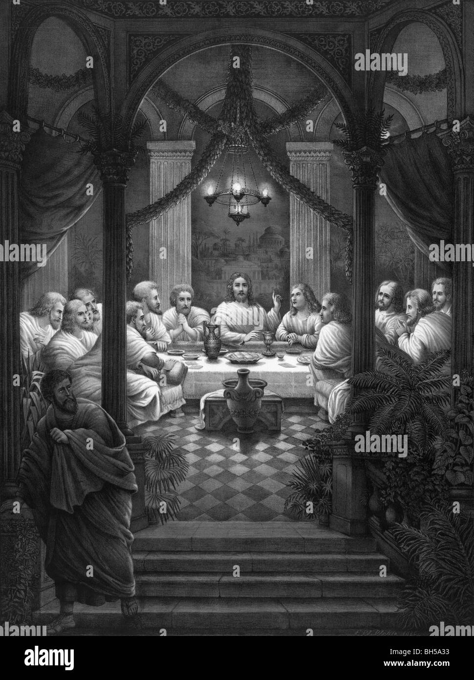 Print circa 1886 showing the Last Supper of Jesus Christ and his disciples as depicted in the Gospels. - Stock Image