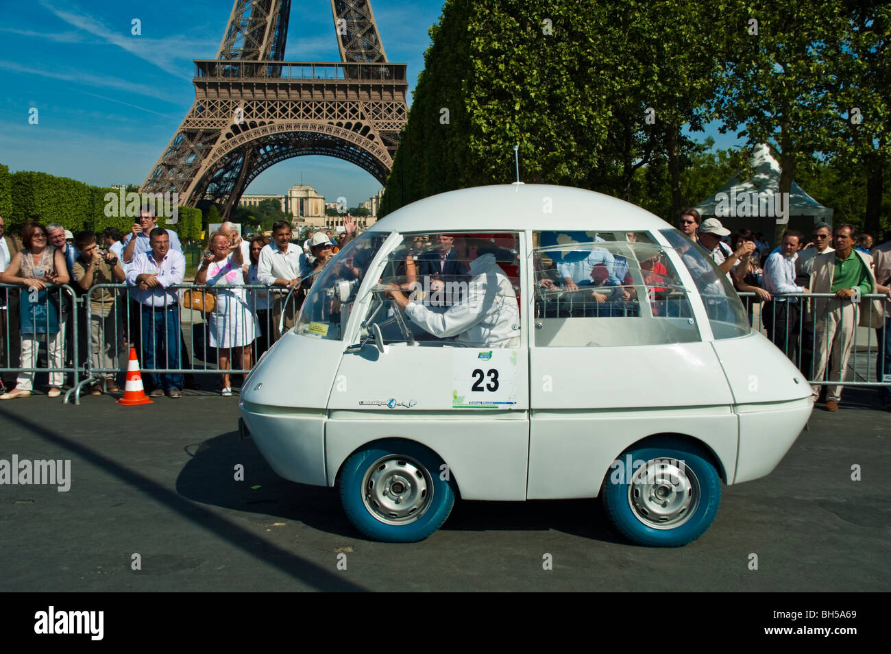 Funny Looking Electric Car Participating In Michelin Challenge Stock Photo Alamy
