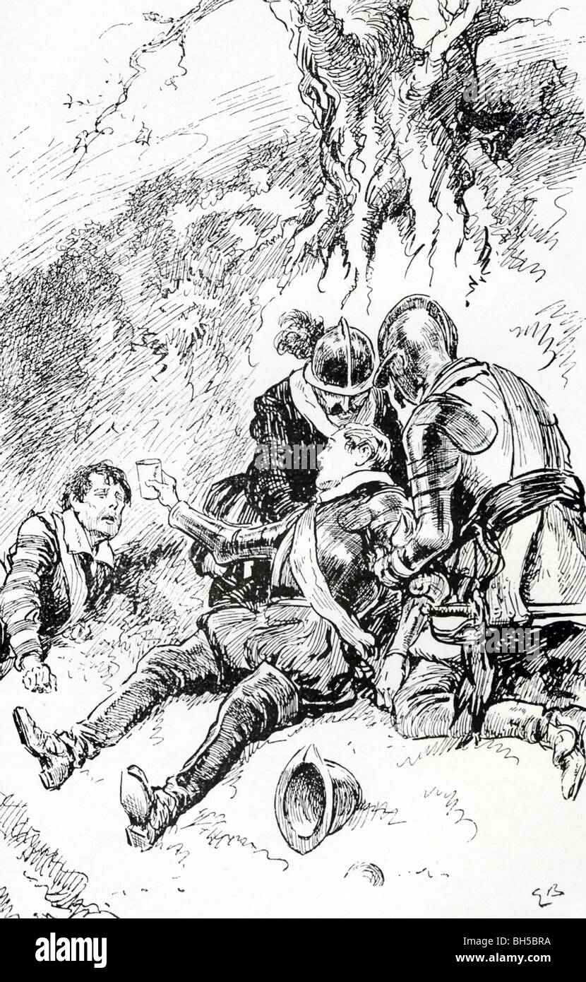 In 1586, Sir Philip Sidney fought at Zutphen against the Spanish. Wounded, he still offered his water to another. - Stock Image