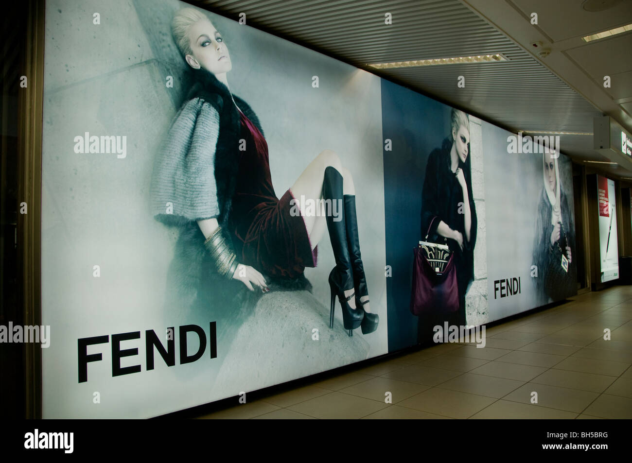 Fendi  fashion man woman young classy Airport Rome - Stock Image
