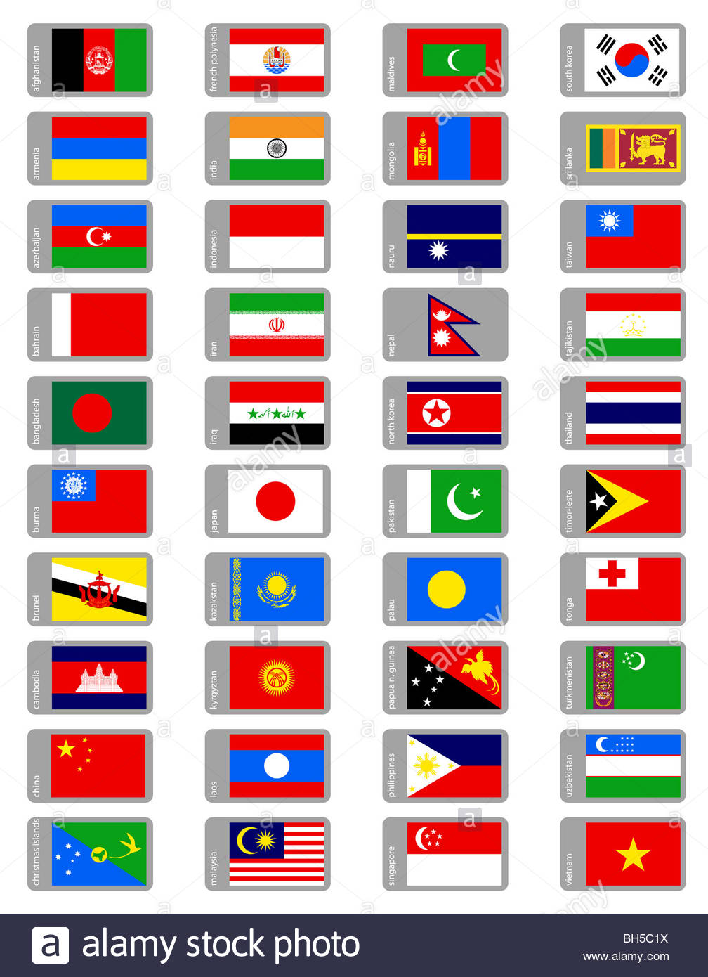 asian flags collection - Stock Image