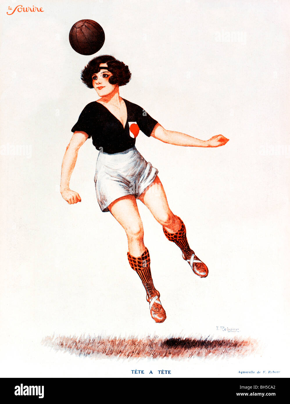 Tete A Tete, 1920s French magazine illustration of a lady footballer using her head to good effect - Stock Image
