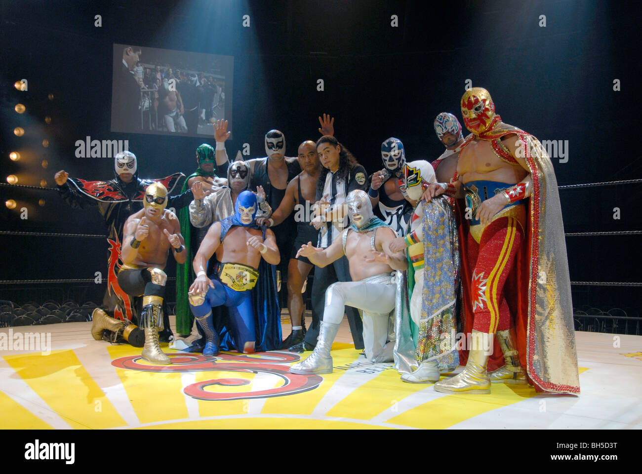 Mexican cult wrestlers Lucha Libre in Mexico City - Stock Image