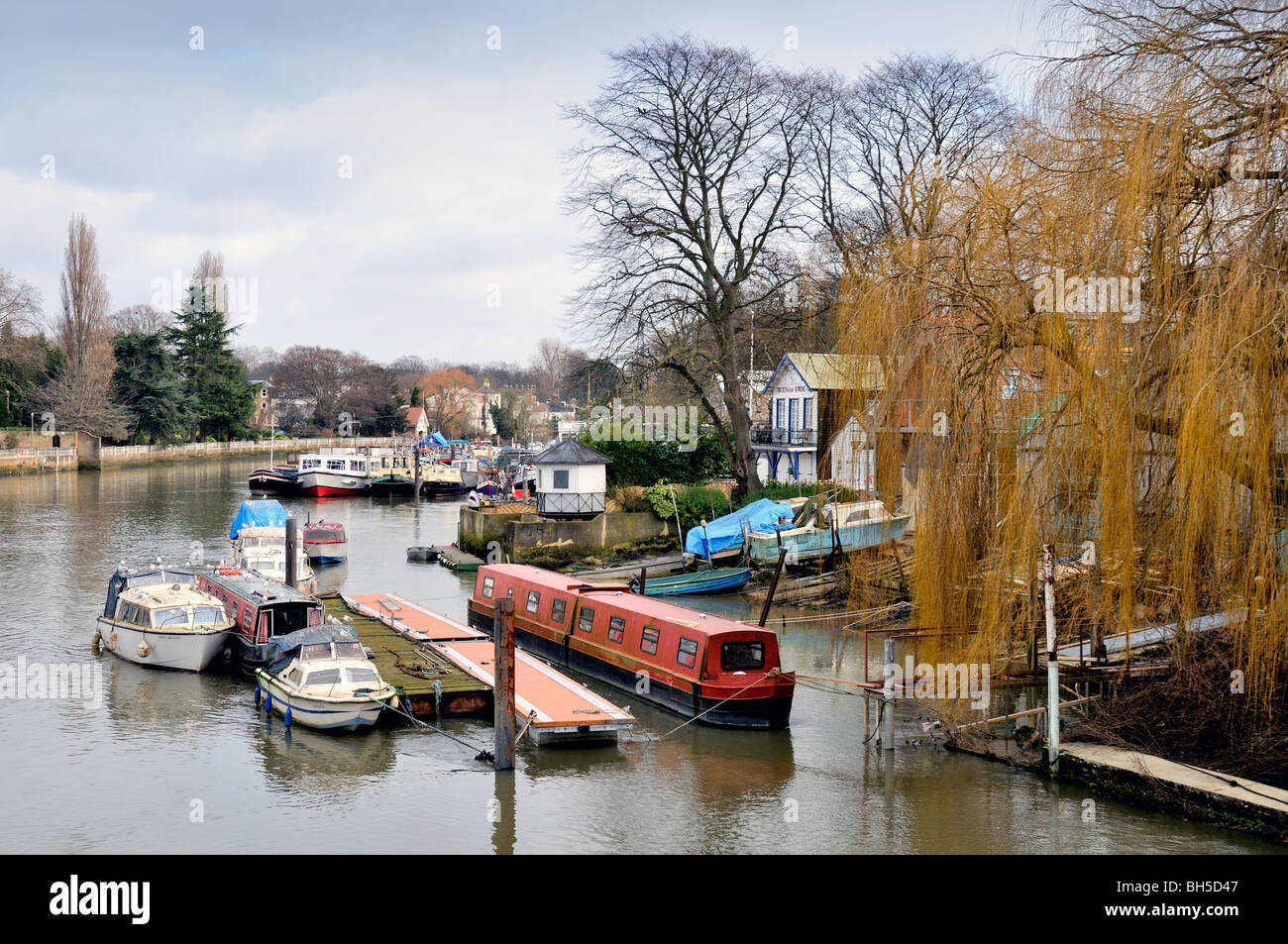 River Thames and Eel Pie Island  Twickenham,West London England UK - Stock Image