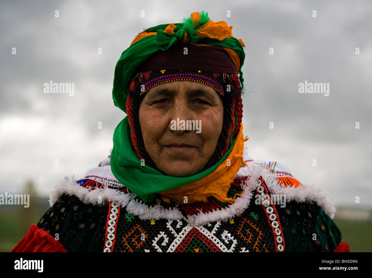Portrait of an indigenous Turkish woman from Ardahan Turkey - Stock Image