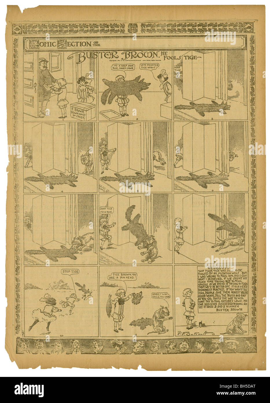 1906 comics page, Buster Brown by R.F. Outcault. Buster and Mary Jane used a wolf skin rug to fool their dog, Tige. - Stock Image