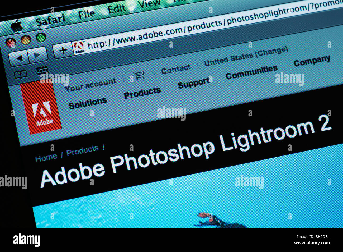 Adobe Photoshop Lightroom website - Stock Image