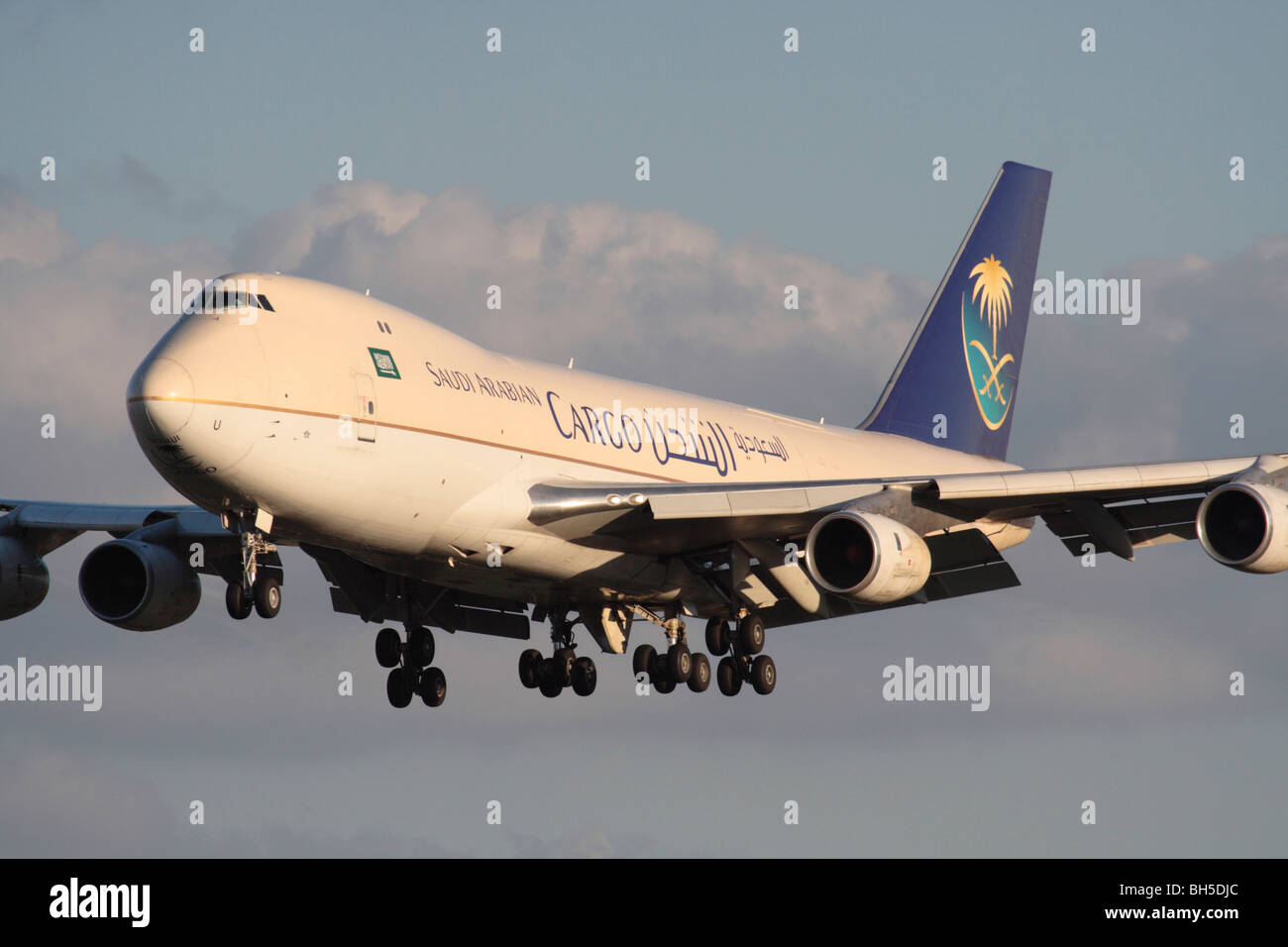 Saudi Arabian Cargo Boeing 747-200F four engine heavy transport aircraft, an adaptation of the jumbo jet, on approach. - Stock Image