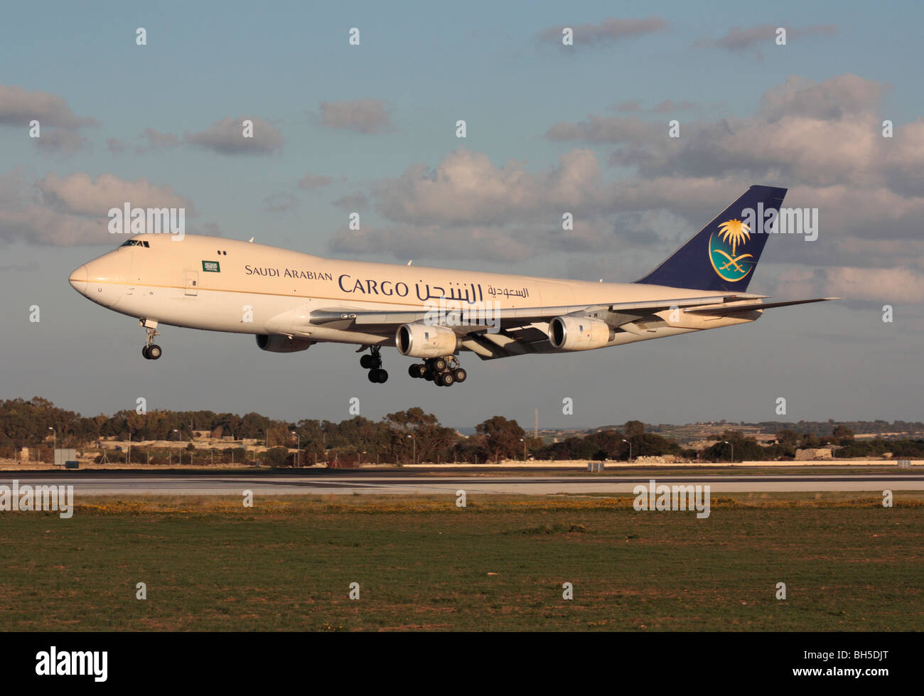 Commercial air transport. Saudi Arabian Airlines Cargo Boeing 747-200F on arrival in Malta - Stock Image