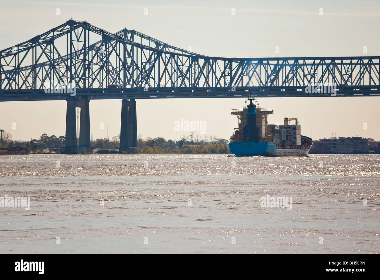 Shipping, Crescent City Connection formerly Greater New Orleans Bridge, Mississippi River, New Orleans, LA Stock Photo