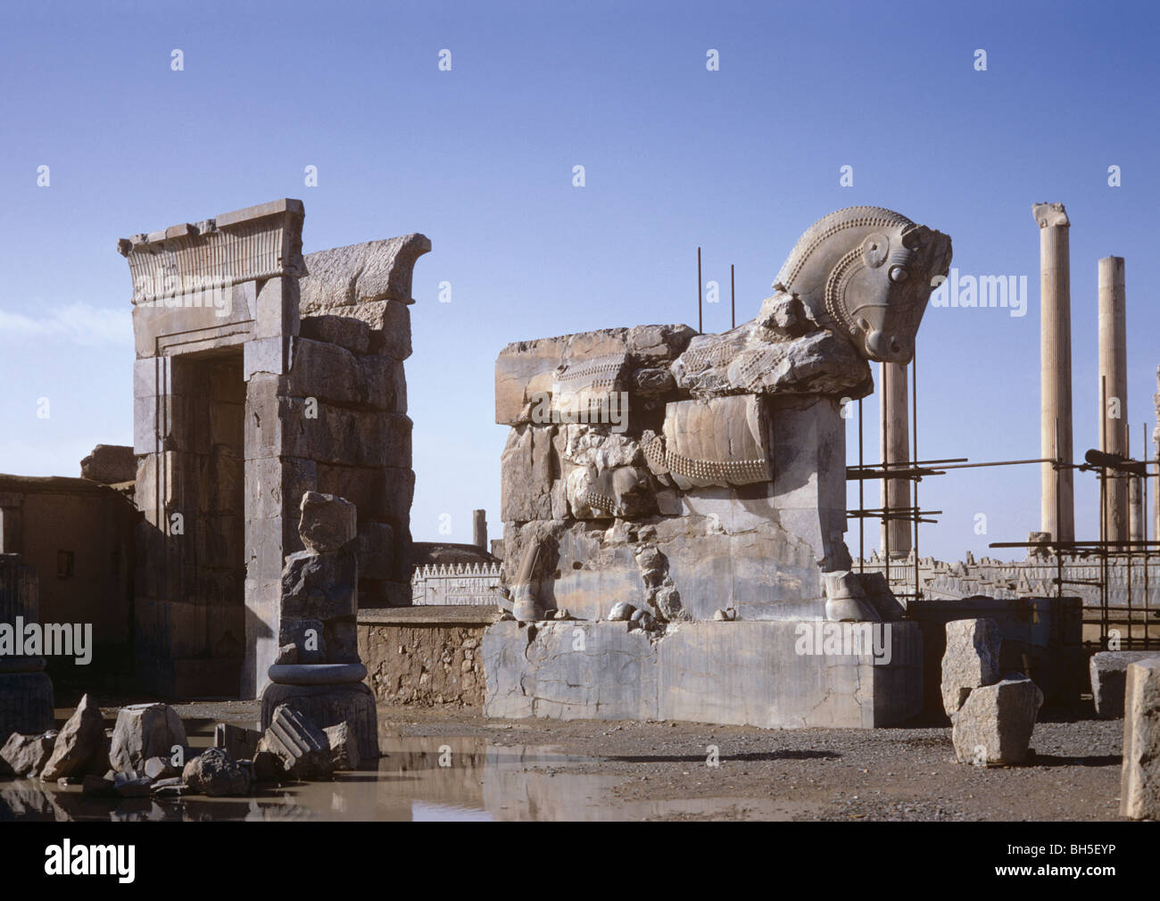 Doorway, Orthostat of unfinished gateway north of the Hall of 100 Columns, Persepolis, Iran 690125 025 Stock Photo