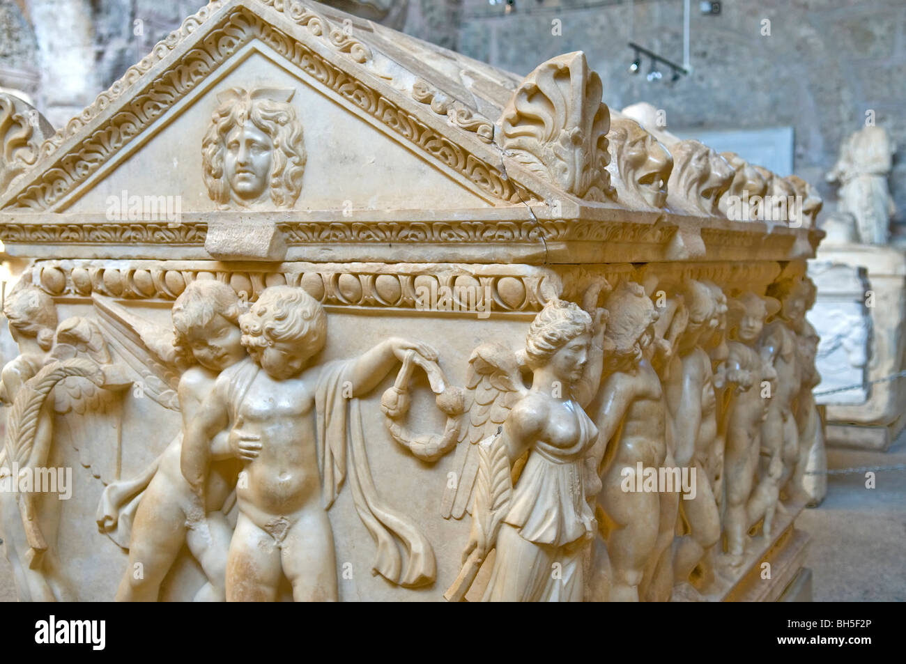 Sarcophagus with Eros relief, Side Museum, Turkey. - Stock Image