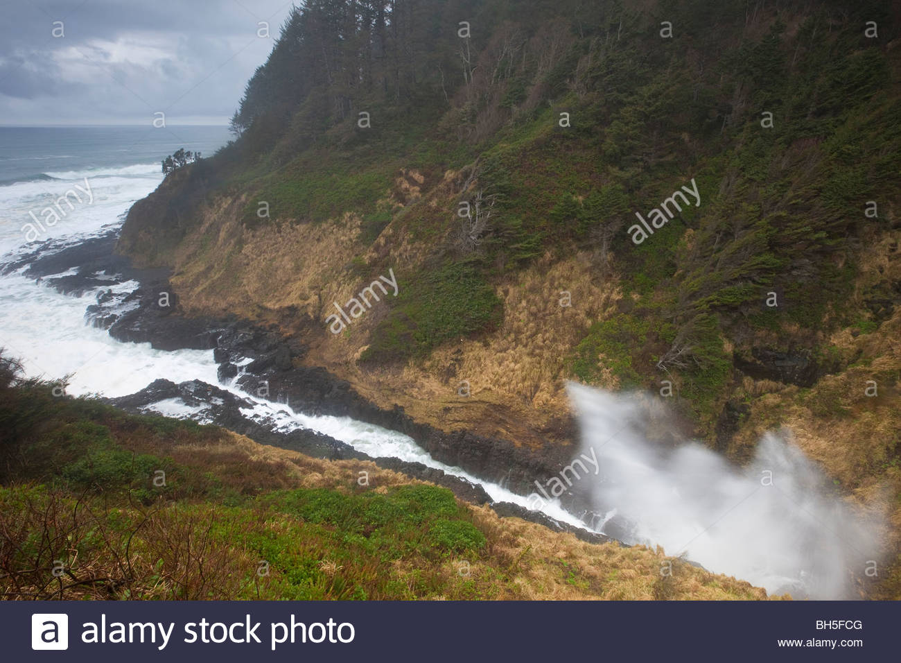 An ocean storm and one of the highest tides of the year causes water to spray high out of Devils Churn near Yachats, Stock Photo
