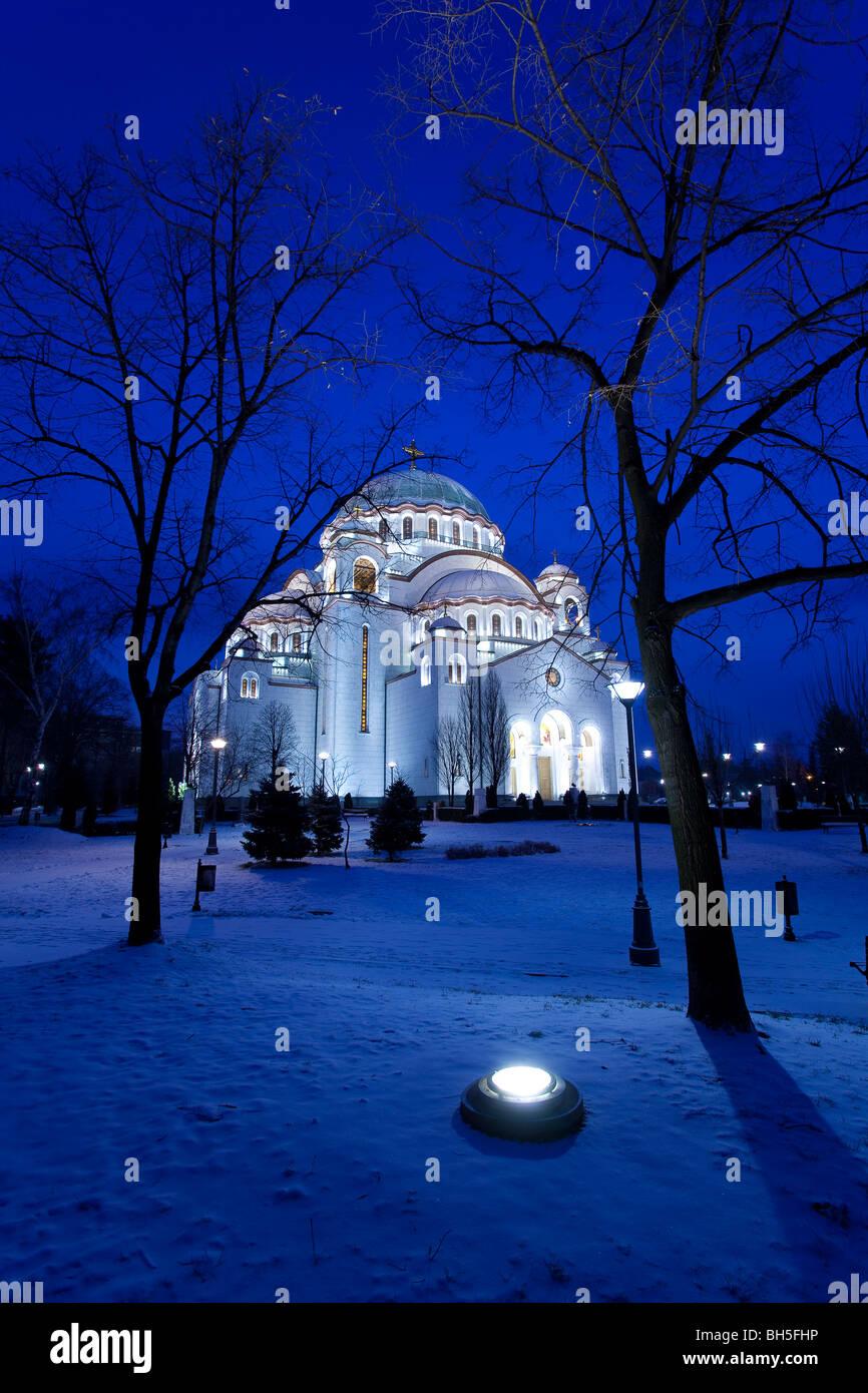 Belgrade Winter Night, St. Sava Temple - Stock Image