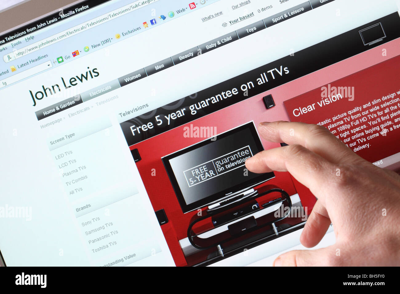 john lewis department store online shopping website web page stock