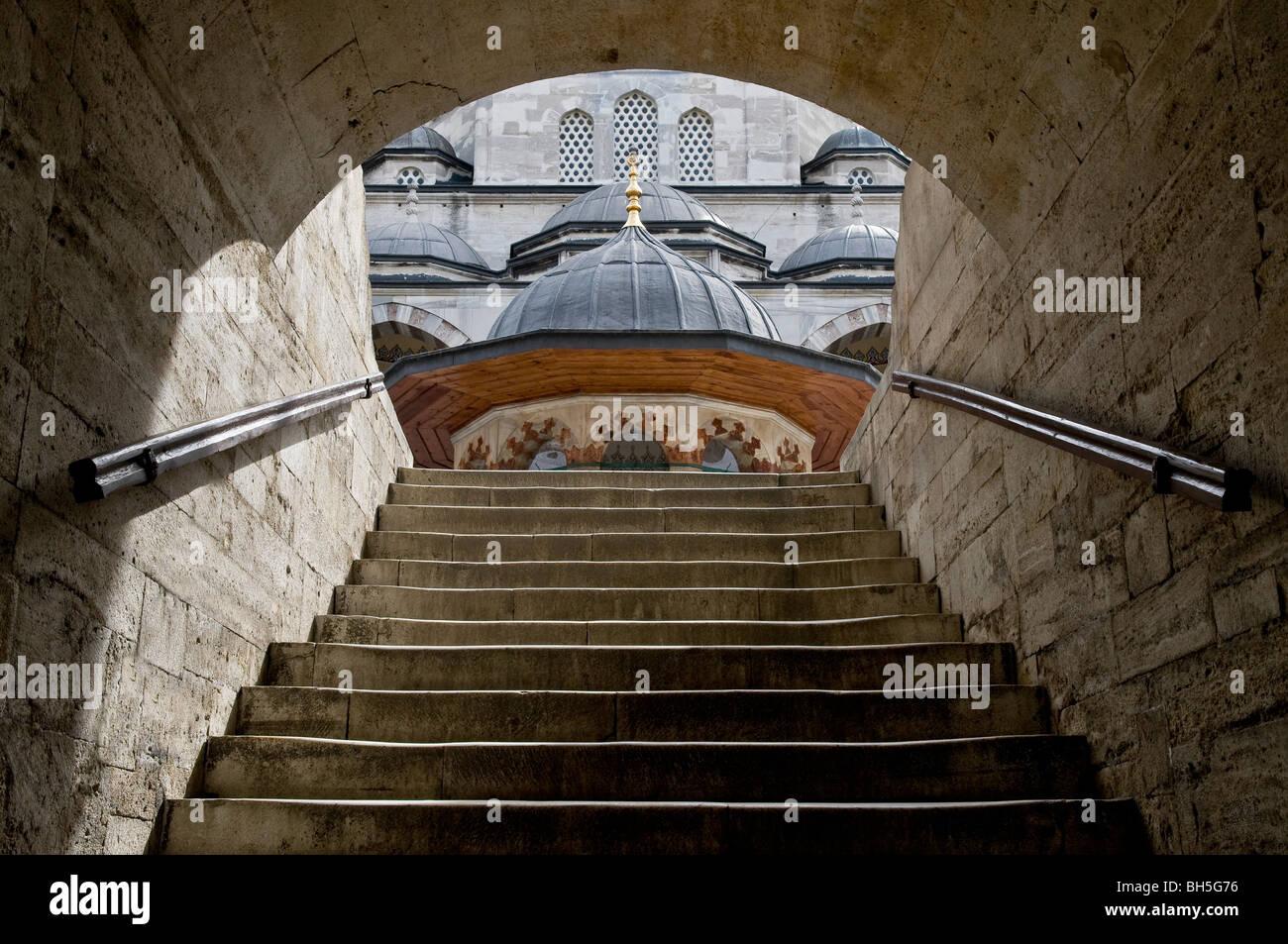 Stairs of Sokullu Mosque, Istanbul Turkey. - Stock Image