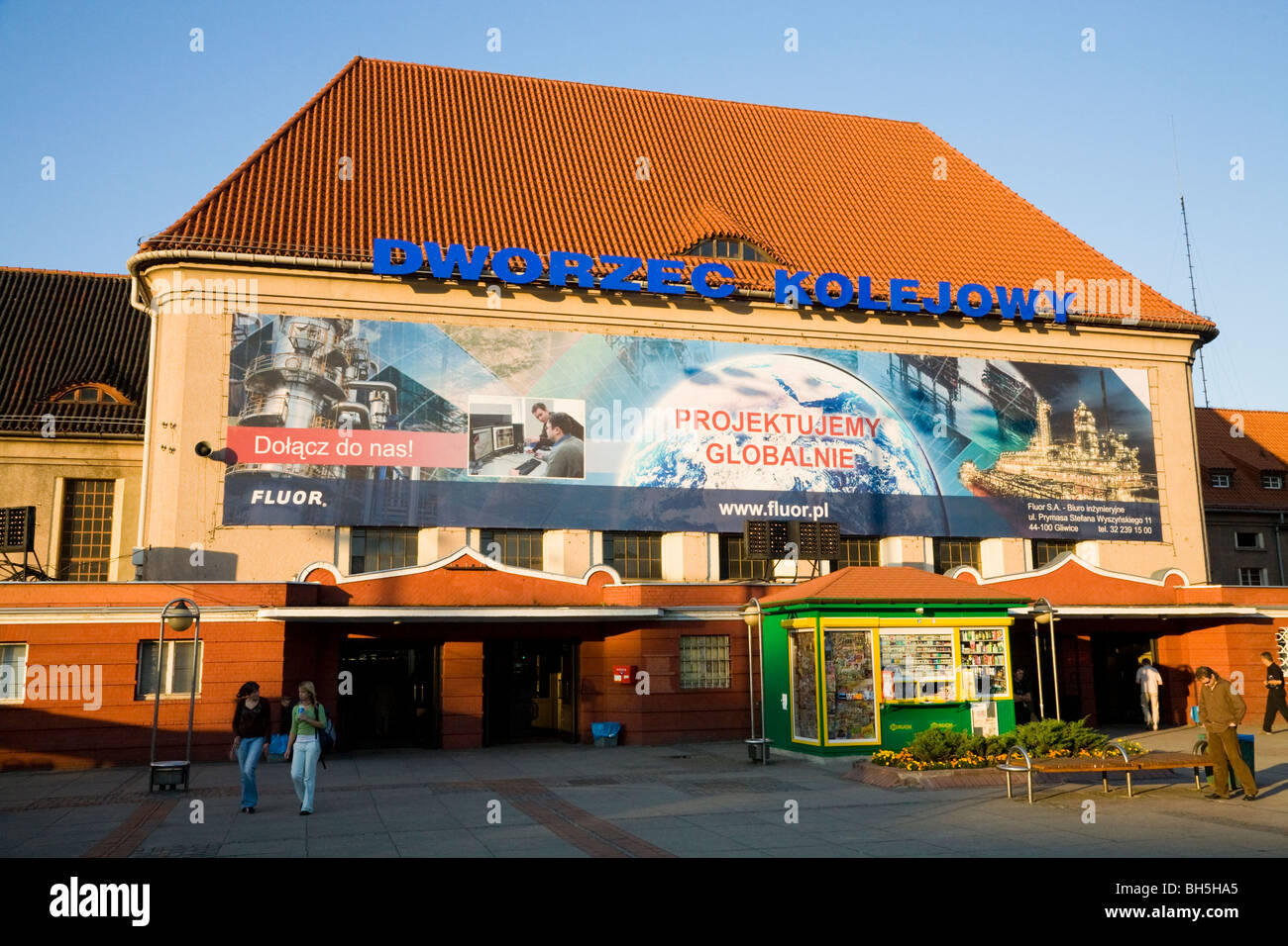 Main railway station in the Polish town of Gliwice, Upper Silesia, Poland, - Stock Image