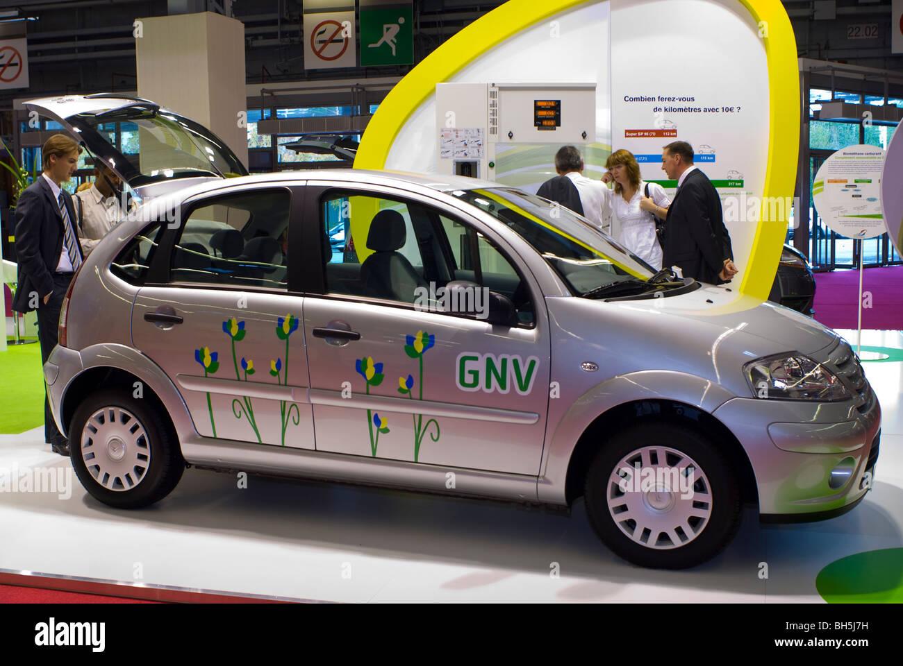 Paris, France, Paris Auto Show, Natural Gas Smart Car on Display at GDF /Gas de France Co. Stock Photo