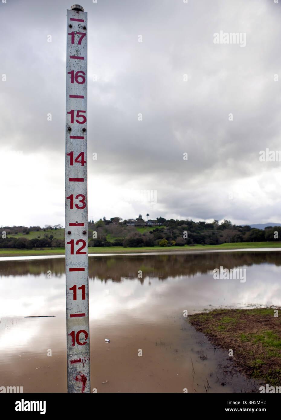 Meter measuring the depth of Lake Lagunita, filled with water, Stanford University, Stanford California, United - Stock Image