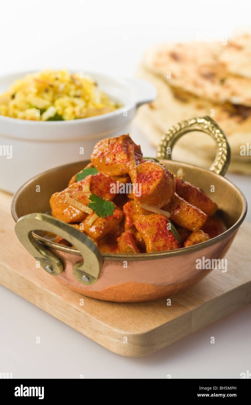 Balti chicken tikka masala curry Indian food - Stock Image