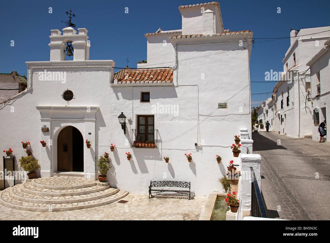 Iglesia de los Remedios Pueblo Blanco de Mijas Costa del Sol Málaga Andalucía España Los Remedios church white village Stock Photo