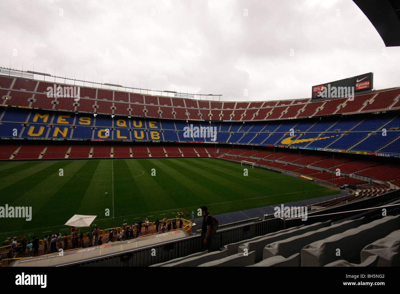 The view inside the Nou Camp, stadium of FC Barcelona. - Stock Image