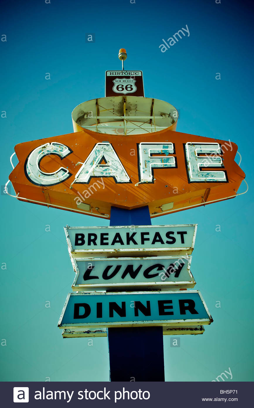 Cafe sign along historic Route 66 in Arizona. Vintage Processing. - Stock Image