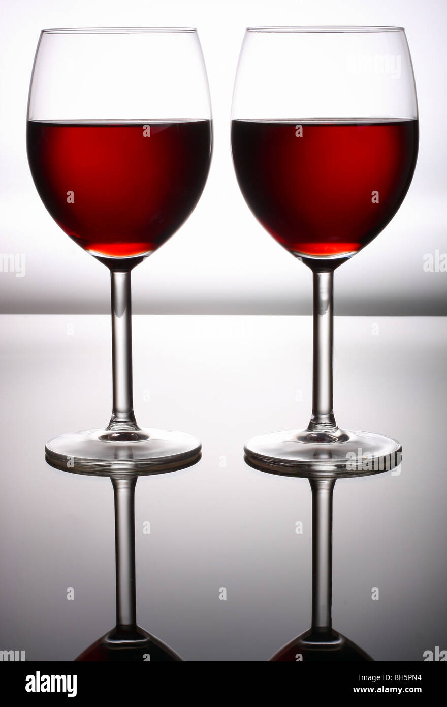 Red wine glass - Stock Image